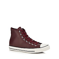 Converse - Maroon leather 'Chuck Taylor All Star' hi-top trainers