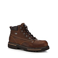 Skechers - Dark brown leather lace up boots