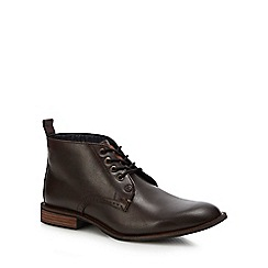 Original Penguin - Dark brown leather 'Tom' chukka boots