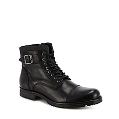 Jack & Jones - Black leather 'Albany' lace up boots