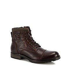 Jack & Jones - Brown leather 'Albany' lace up boots