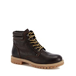 Jack & Jones - Dark brown leather 'Stoke' lace up boots