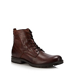 Jack & Jones - Brown Leather 'Orca' Lace Up Boots