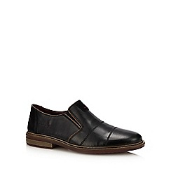 Rieker - Black leather slip-on shoes