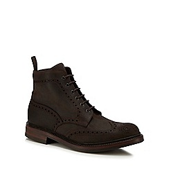 Loake - Dark brown suede 'Bedale' brogue boots