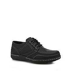 Hush Puppies - Black leather 'Volley Victory' Oxford shoes