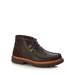 Clarks - Dark brown leather 'Trace ramble' lace up boots