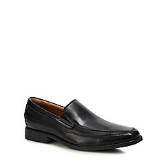 Clarks - Black leather 'Tilden free' slip-on shoes