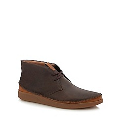 Clarks - Dark brown leather 'Oakland Rise' chukka boots