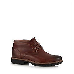 Clarks - Dark tan leather 'Batcombe Lo' chukka boots