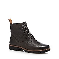Clarks - Dark brown leather 'Batcombe Lord' lace up boots