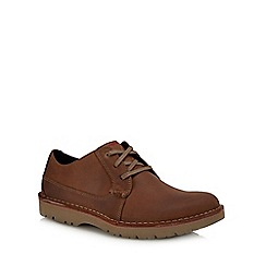Clarks - Dark tan leather 'Vargo Plain' lace up shoes
