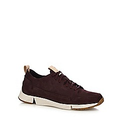 Clarks - Dark purple nubuck 'Tri Spark' trainers