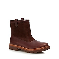 Clarks - Dark tan leather 'Trace Top' boots