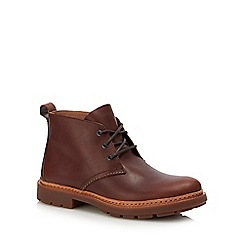 Clarks - Dark brown leather 'Trace Flare' lace up boots