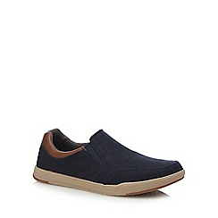 Clarks - Navy canvas 'Step Isle' slip-on shoes