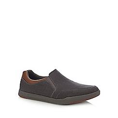 Clarks - Dark grey canvas 'Step Isle' slip-on shoes