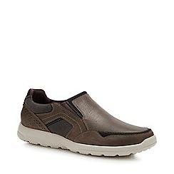 Rockport - Dark Brown Leather 'Welker' Slip-On Shoes