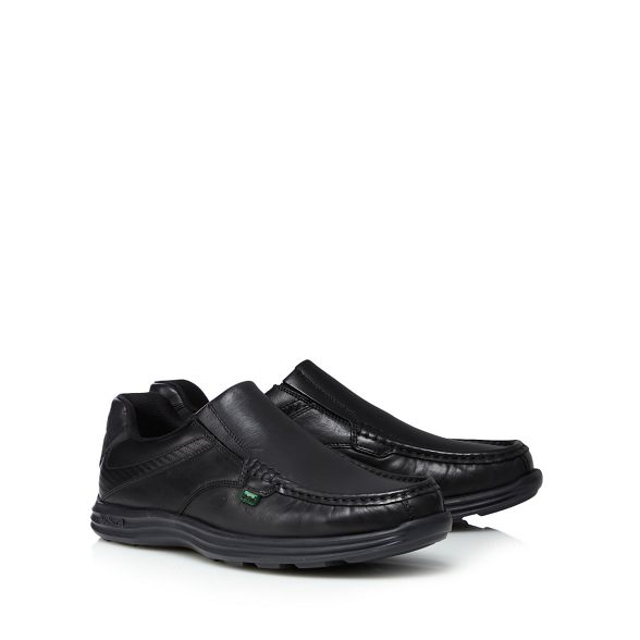 'Reason' slip on Black leather shoes Kickers ZqRpw