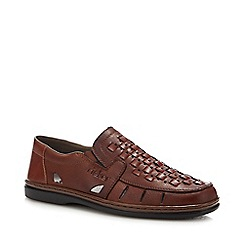 Rieker - Tan Leather Woven Slip-On Shoes