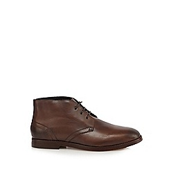 H By Hudson - Brown leather Chukka boots
