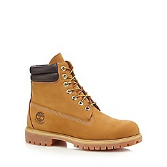 Timberland - Beige leather 'Double Collar' lace up boots