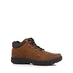 Skechers - Brown leather 'Resment' lace up boots