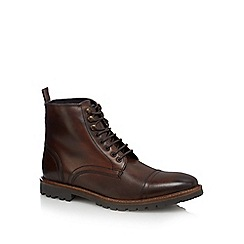 Base London - Brown leather 'Siege' lace up boots