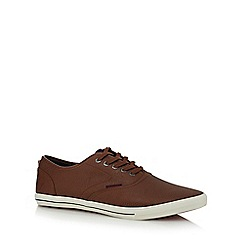 Jack & Jones - Brown leather 'Spider' trainers