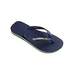 Havaianas - Navy blue Brasil logo flip flops