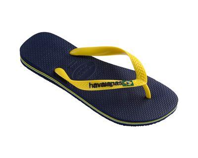 Havaianas - Blue and yellow Brasil logo flip flops