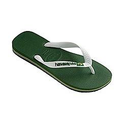 Havaianas - Green and white Brasil logo flip flops