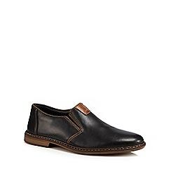 Rieker - Black leather slip-on shoes