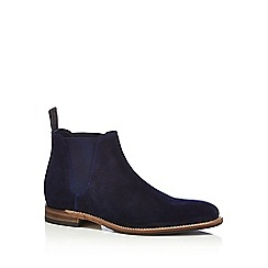 Loake - Navy suede 'Caine' Goodyear welted sole Chelsea boots