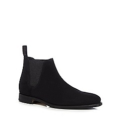 Loake - Black suede 'Caine' Goodyear welted Chelsea boots