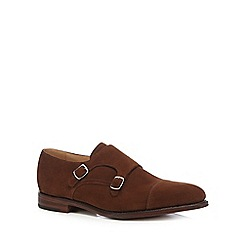 Loake - Dark tan suede 'Cannon' double buckle shoes