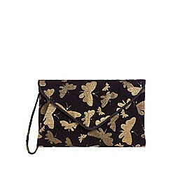 Debut - Black butterfly print envelope clutch bag