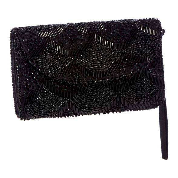 Debut Black clutch beaded scalloped bag xawZq0Ona