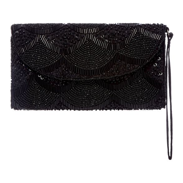 bag beaded Black clutch scalloped Debut wROAZxFfqO