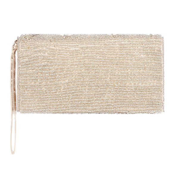 Debut beaded bag Champagne scallop clutch q1Oaw4zq