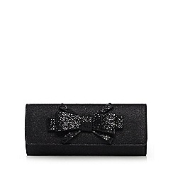 Debut - Black glittery bow clutch bag