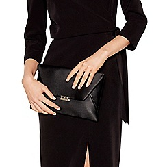J by Jasper Conran - Black satin envelope clutch bag