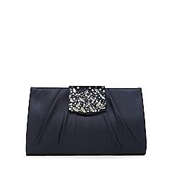 No. 1 Jenny Packham - Navy satin embellished clutch bag
