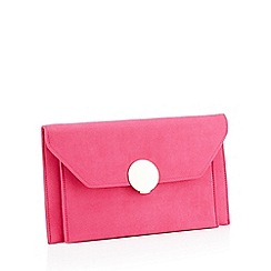 Star by Julien Macdonald - Bright pink suedette envelope clutch bag