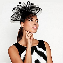 Star by Julien Macdonald - Black mesh satin bow feather mini saucer fascinator headband