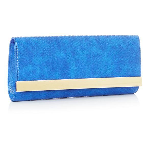 Star leather clutch Blue Julien bag by Macdonald faux qwCq1Tx