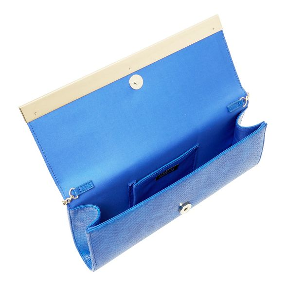 Star leather clutch Blue Julien bag by Macdonald faux qwCq1Tx
