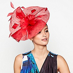 Star by Julien Macdonald - Red floral sinamay wave fascinator