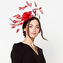 J by Jasper Conran - Red statement feather spray fascinator