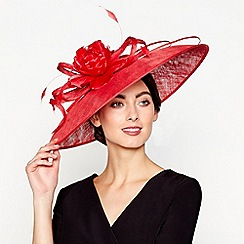 J by Jasper Conran - Red 'Lila' downbrim fascinator